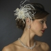 Gold Ivory Embroidered Feather Flower Clip 2641