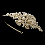 ✧SPECIAL ORDER ONLY✧ Gold Ivory Floral Leaf Side Headband (Minimum 24 pieces - Special order)