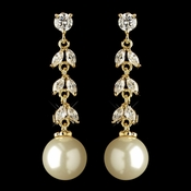 Gold Ivory Pearl & CZ Crystal Dangle Earrings 2270