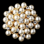 Gold  Ivory Pearl Rhinestone Bridal Brooch 31**Discontinued**