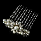 Gold Ivory Pearl & Rhinestone Hair Comb Pin 3912