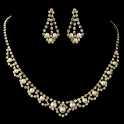 Gold Ivory Pearl & Rhinestone Jewelry Set
