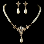 Gold Diamond White Pearl & Rhinestone Vintage Fleur de lis Jewelry Set 4215