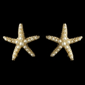 Gold Ivory Pearl Stud Starfish Earrings