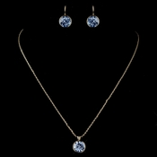 Gold Light Sapphire Round Swarovski Element Crystal Jewelry Set 9600