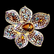 * Gold Light Topaz & Brown AB  Rhinestone Brooch 8799