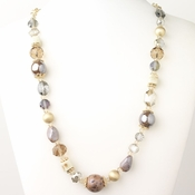 Gold Light Topaz & Champagne Faceted Cut Glass Fashion Necklace 9511