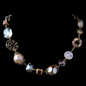 Gold Light Topaz Faceted Cut Glass & Stone Necklace