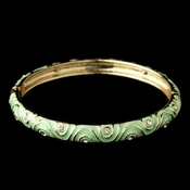 Gold Mint Enamel Swirl & Rhinestone Bangle Bracelet 82063