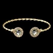 Gold Mint Stone In Twisted Bangle Bracelet 82060