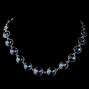 Gold Montana Blue Swarovski Crystal Round Solitaire Necklace 9607