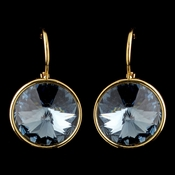 Gold Navy Blue Swarovski Crystal Element Large Round Leverback Earrings 9603
