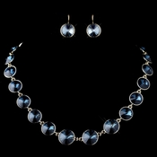 Gold Navy Round Swarovski Element Crystal Necklace 9607 & Earrings 9603 Jewelry Set