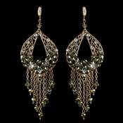 Gold Olive Green & Clear Rhinestone Hand Made Chandelier Earrings 82041