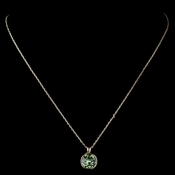 Gold Peridot Round Swarovski Crystal Element On Chain Necklace 9600