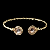 Gold Pink Stone In Twisted Bangle Bracelet 82060
