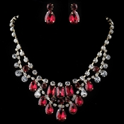 Gold Red & Clear Pear & Radiant Cut Rhinestone Jewelry Set 82051