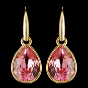 Gold Rose Swarovski Crystal Element Teardrop Dangle Hook Earrings 9601