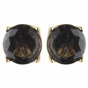 Gold Round Smoke CZ Crystal Stud Earrings 82024