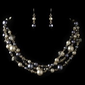 Gold Smoke Ivory Mix Pearl & Crystal Fashion Jewelry Set 82035