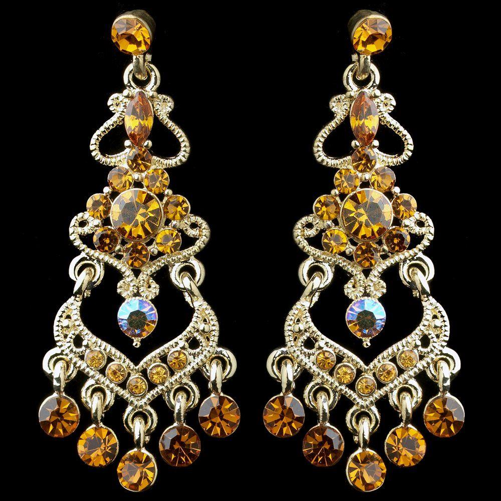 Gold Topaz Ab Mix Rhinestone Chandelier Earrings 8415