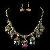 Gold Vitral Rondelle Crystal Beaded Fashion Jewelry Set 82047