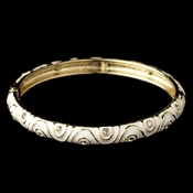 Gold White Enamel Swirl & Rhinestone Bangle Bracelet 82063