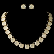 Gold White Opal Acrylic Stone Fashion Jewelry Set