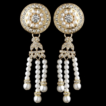 Gold White Pearl & Rhinestone Dangle Great Gatsby Earrings 2365