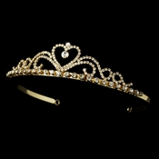 Gold with Clear Stones Heart Tiara HP-1010