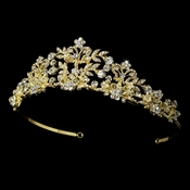 Golden Crystal Tiara with Pearl Accents HP 7102