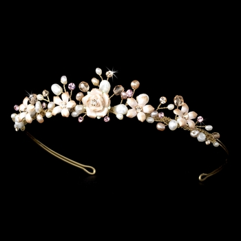 Pink Porcelain Bridal Tiara Headpiece 8142 (Gold or Silver)