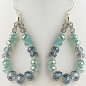 Hematite Aqua, Blue & Smoke Mix Faceted Glass Stone Hoop Earrings