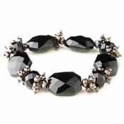 Hematite Black Faceted Chunky Glass Cut Fashion Stretch Bracelet 9518