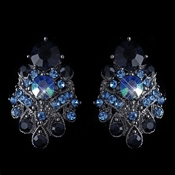 Hematite Navy Blue AB Mix Clip On Earrings 1334