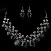 Hematite Smoke Black Round & Teardrop Rhinestone Jewelry Set 82046