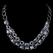 Hematite Smoke Multi Faceted Rondelle Swarovski Crystal Bead Necklace