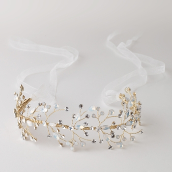 Gold Opal Vine Headband with Light Ivory Organza Ribbon 6453