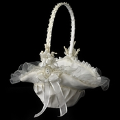 Ivory Bridal Flower Girl Basket FB 4