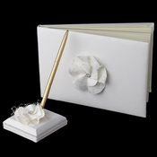 Ivory Flower Guest Book & Pen Set 804