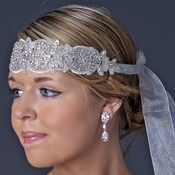 Ivory Leaf Rhinestone Headpiece or Belt 263 (Also available as applique only)