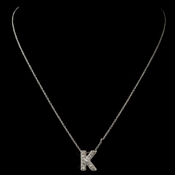 """K"" Clear Rhinestone Letter Initial Pendant Necklace 1"