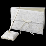 Lace Guest Book & Pen Set 800