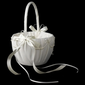 Lace Ribbon & Sheer Organza Flower girl Basket w/ Rhinestone & Pearl Accents