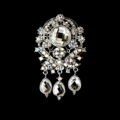 * Large Antique Silver AB Rhinestone Celebrity Style Brooch for Gown or Hair - Brooch 8777