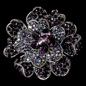 Large Antique Silver Multi Amethyst & AB Rhinestone Celebrity Style Brooch for Gown or Hair - Brooch 8779