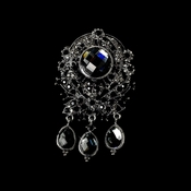 * Large Antique Silver with Black Rhinestones Celebrity Style Brooch Brooch 8777