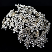 Light Gold Clear Marquise Rhinestone Wired Deco Side Accented Headband