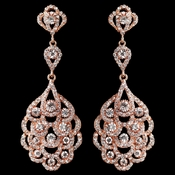Rose Gold Clear Rhinestone Chandelier Earrings