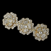 Light Gold Clear Rhinestone Flower Barrette